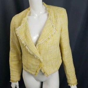 CAbi yellow white fringe tweed jacket size S #339